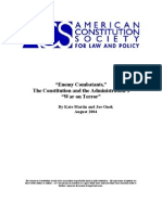 """Enemy Combatants,"" The Constitution and the Administration's ""War on Terror"" By Kate Martin and Joe Onek August 2004"