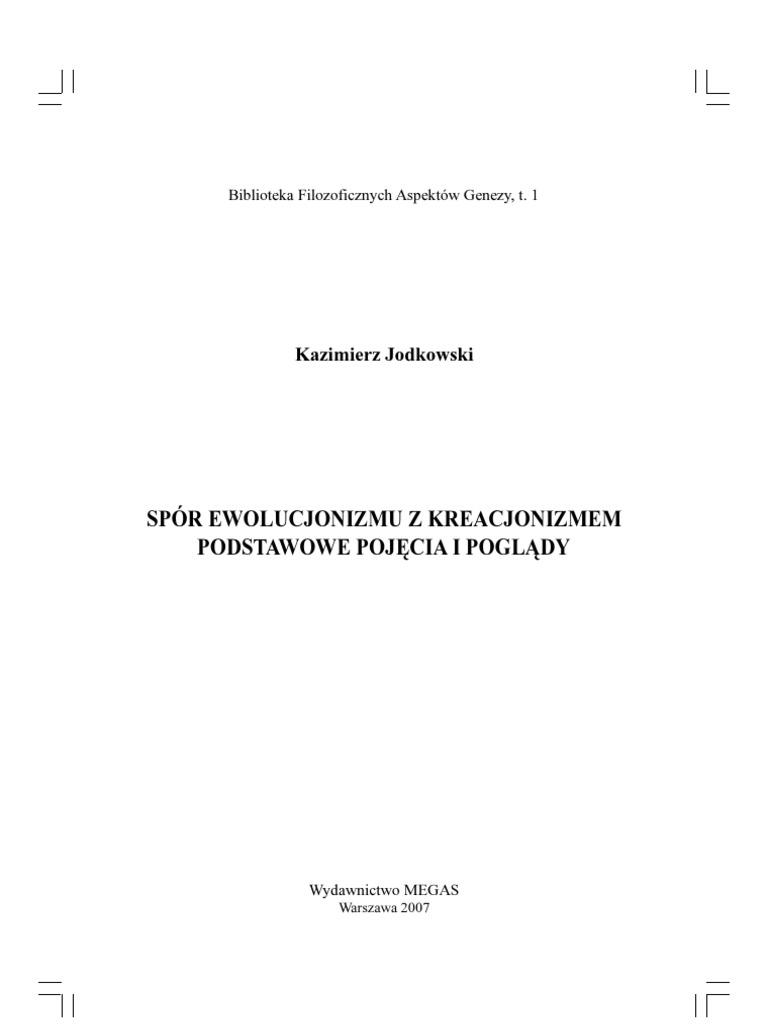Kazimierz Jodkowski Spór Ewolucjonizmu Z Kreacjonizmem