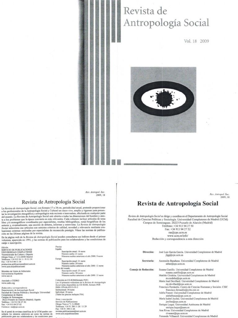 Revista de Antropologia Social, Vol. 18, 2009, Monografico ...