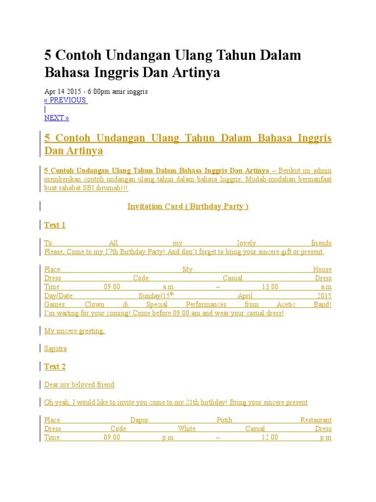 5 contoh undangan ulang tahun dalam bahasa inggris dan artinyac stopboris Images