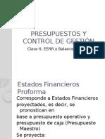 Presupuesto Maestro, EERR y Balance Proforma