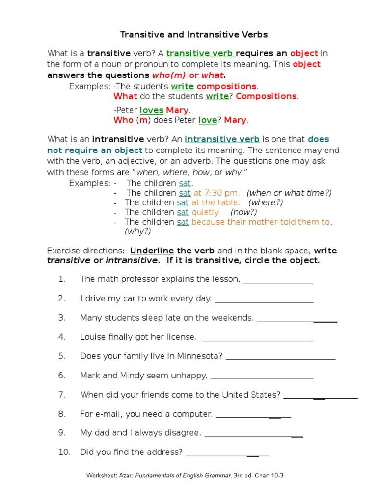 Worksheet Transitive And Intransitive Verbs Worksheets Carlos