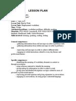 LESSON PLAN Inspectie Titularizare 2014