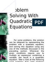 3.3 Problem Solving With Quadratic Equations