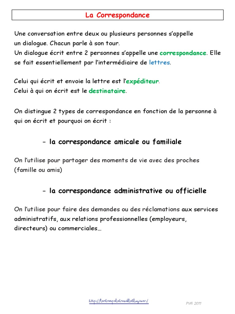 Lettre Amicale Cours