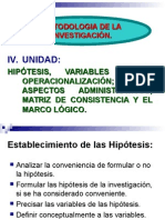 Hipotesis y Variables II - 2014