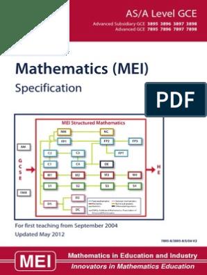 Mei Specification Gce Advanced Level United Kingdom