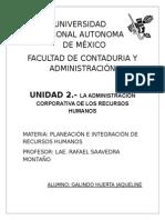 UNIDAD 2.- LA ADMINISTRACIÓN CORPORATIVA DE LOS RECURSOS HUMANOS