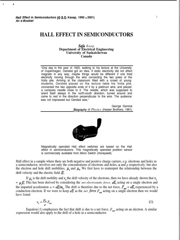 11 Hall Effect In Semiconductors Electric Current Electron Hole Switch