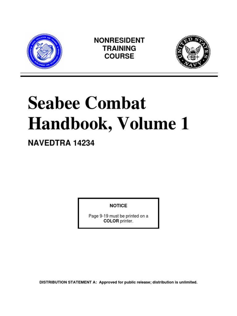 Seebee Combat Handbook Vol 1 Navedtra 14234 Company Military Unit Atlantic 20 Foot 6wire Extension Cord Color Changing Lighting Platoon