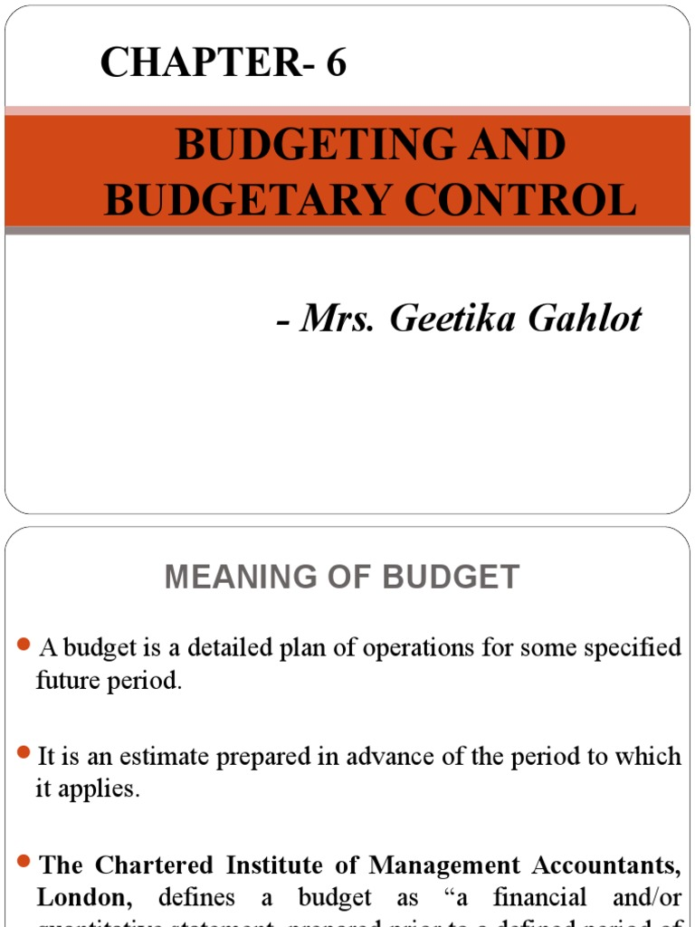Budgeting and Budgetary Control | Economies | Business