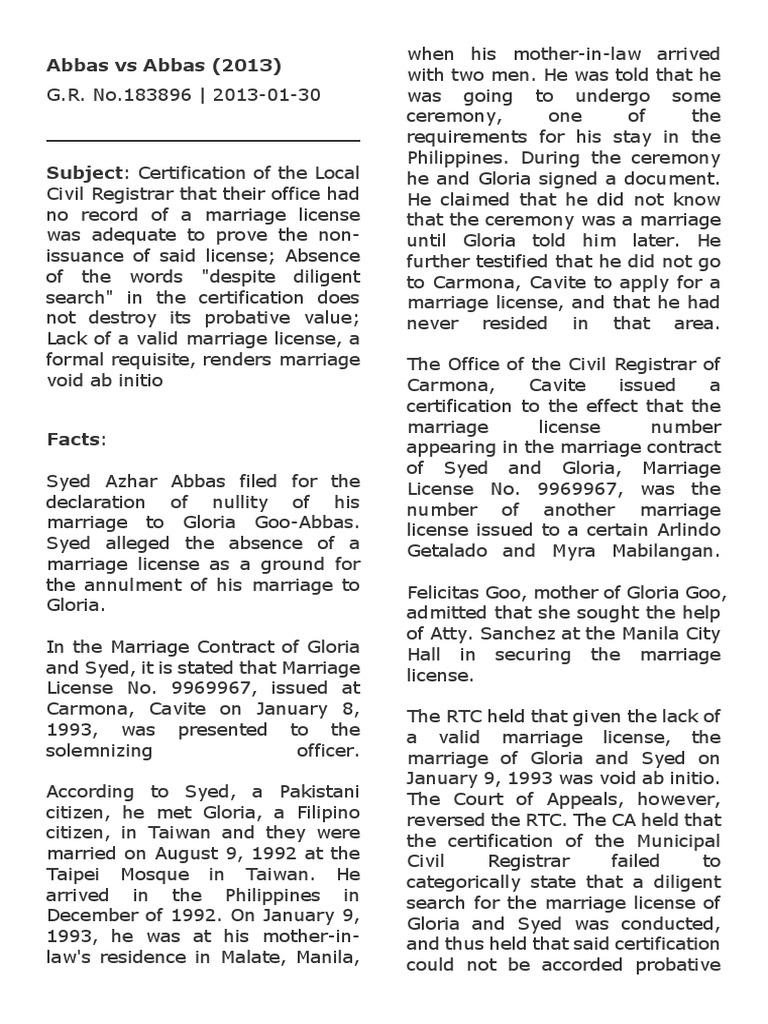 Case Digest: Abbas vs Abbas   Marriage License   Annulment