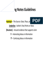 thinking notes guidelines