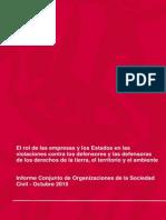 El rol de las empresas y los Estados en las violaciones contra los defensores y las defensoras de los derechos de la tierra, el territorio y el ambiente