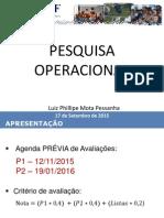 Pesquisa Operacional I - Aulas 1 e 2