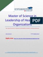 262828 Aa85 40. Msc in Leadership of Healthcare Organizations