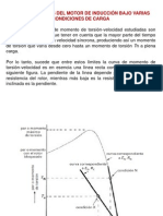 Características del motor de inducción bajo varias condiciones de carga