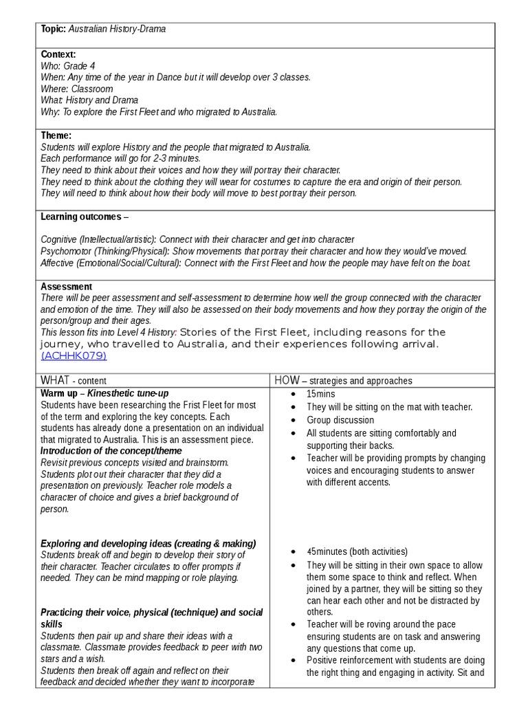 dance drama lesson plan template | Educational Assessment