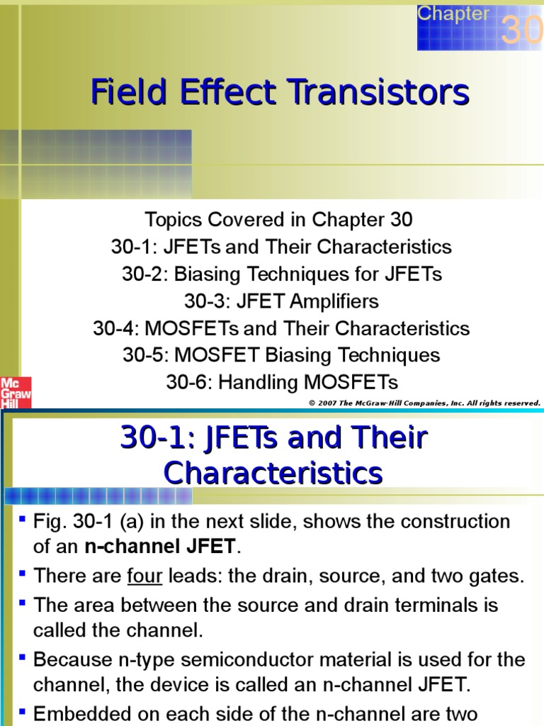Chapter 30 Field Effect Transistors Transistor Mosfet Tutorial Circuits