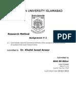 Preston University Research method assignment