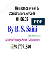 Internal Resistance of Cell and Combinations of Cells