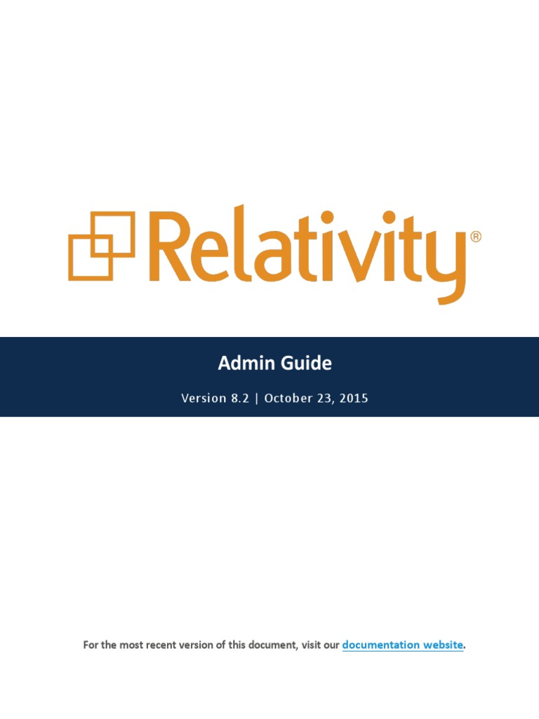 Relativity - Admin Guide - 8 2 pdf | Tab (Gui) | Library (Computing)