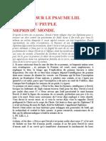 Saint Augustin - Discours sur les psaumes - Ps 53 Mépris Du Monde