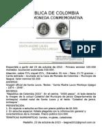 República de Colombia, Nueva emisión de Moneda. Autor Bernardo González White.