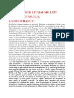 Saint Augustin - Discours sur les psaumes -Ps 64 La Délivrance