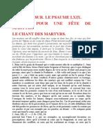 Saint Augustin - Discours sur les psaumes - Ps 69 Le Chant Des Martyrs