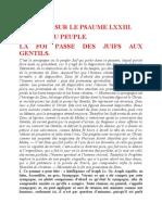 Saint Augustin - Discours sur les psaumes - Ps 73 La Foi Passe Des Juifs Aux Gentils