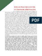 Saint Augustin - Discours sur les psaumes - Ps 78 Les Persécutions de Jérusalem