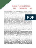 Saint Augustin - Discours sur les psaumes - Ps 83 Encore Les Pressoirs de l'Église