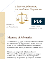 Difference between arbitration conciliation negotiation and mediation