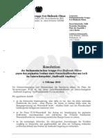 Resolution der Parlamentarischen Gruppe Frei fließende Flüsse gegen den Bau eines Kraftwerks am Lech