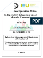 certificate of participation - behaviour management skills   preston