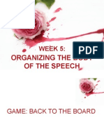 Organizing the body of speech