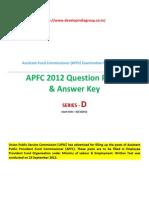 APFC 2012 Question Paper Series D