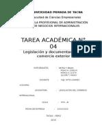Tarea Académia 4 Legislacion y Documentacion Del Comercio Exterior