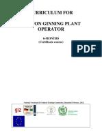 Cotton Ginning Plant Operator