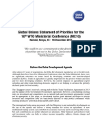 Global Unions Statement of Priorities for the 10th WTO Ministerial Conference