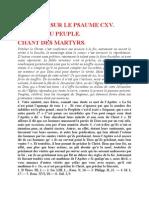 Saint Augustin - Discours sur les psaumes - Ps 115 Chant Des Martyrs