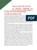 Saint Augustin - Discours sur les psaumes - Ps 127 Les Biens Spirituels