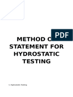 Method of Statement for Hydrostatic Testing