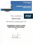 Rauf Aliev's SAP hybris Commerce certificate