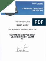Rauf Aliev's SAP hybris Commerce certificate