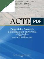 l'Apport Des Amazighs a La Civilisation Universelle (Actes Du Colloque Organise Par Le Hca, Les 12 Et 13 Novembre 2008)