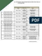 UPTU Examination Schedule for Odd Semester Main Examination 2014-15 (Semester-I