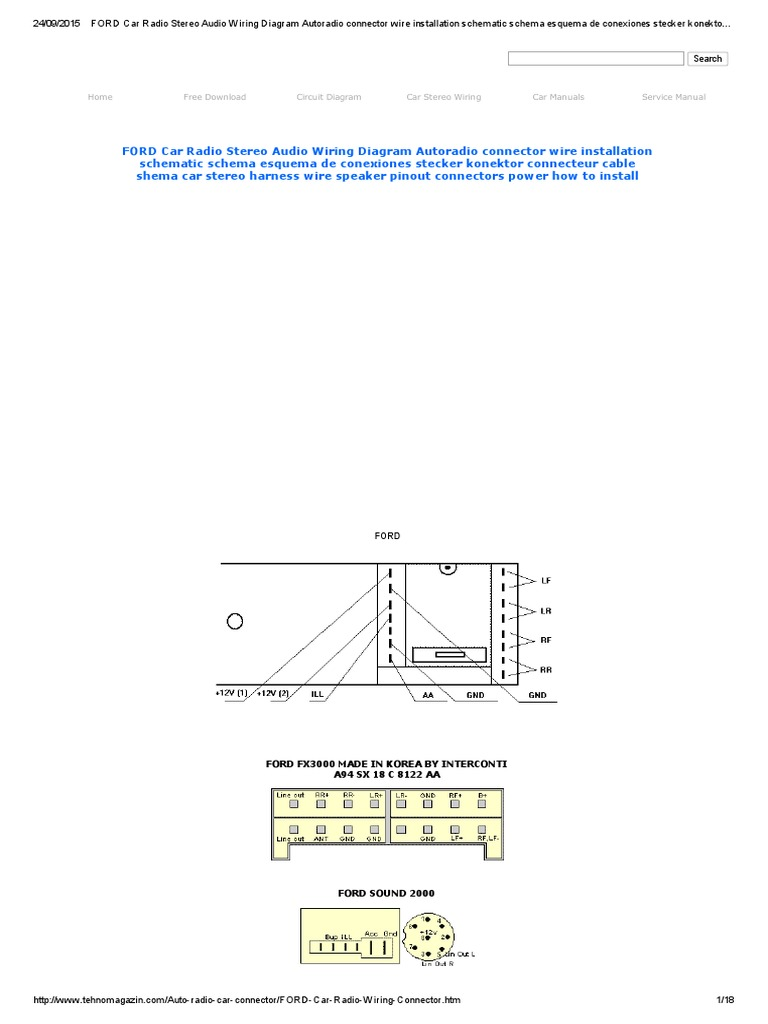 ford car radio stereo audio wiring diagram autoradio connector wire rh es scribd com iso radio connector wiring diagram Aftermarket Stereo Wiring Diagram