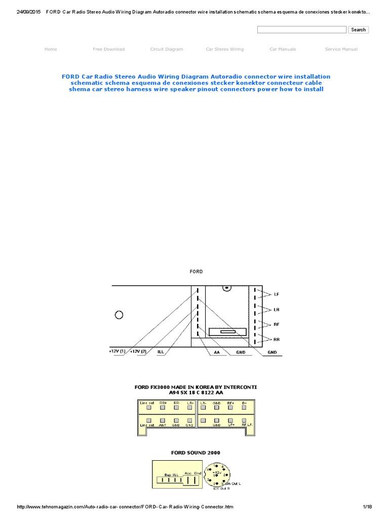 FORD Car Radio Stereo Audio Wiring Diagram Autoradio connector wire ...